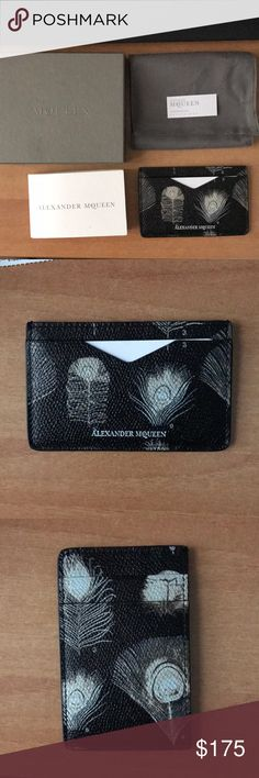 New Alexander McQueen Feather card holder Incredibly rich Saffiano leather tickles the dark side of sophistication with this slim, classic card case meticulously crafted in Italy. Two card slots Leather Made in Italy Accessories Key & Card Holders