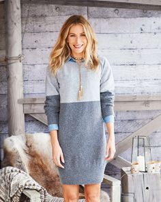 This flattering dress is made from soft Geelong lambswool, featuring a scoop neck and a wide ribbed hem. Flattering Dresses, Workout Pants, Hemline, Knitwear, Scoop Neck, Sweaters, Shopping, Collection, Women