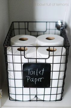 25 Toilet Paper Holder Ideas that will Get Your Decorating on a Roll Chic Wire Storage Basket with Chalkboard Label Wire Basket Storage, Wire Storage, Wire Baskets, Storage Bins, Bathroom Organization, Bathroom Storage, Organization Hacks, School Organization, Dorm Bathroom