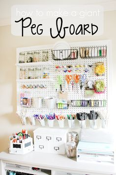 How to make A huge DIY PegBoard by GingerSnap Crafts. If you're in need of craft storage ideas for your craft room then this list is exactly what you need to read!