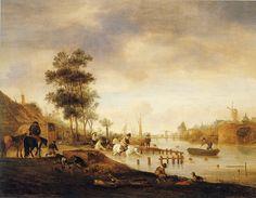 Isaac van Ostade - Rivierlandschap met zwemmers