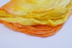 Silk Hankies for Felting and Spinning Hand Dyed Yellow Orange Mix 12281 Nuno Felting, Mulberry Silk, Orange, Yellow, Beautiful Hands, Spinning, Squares, Hand Spinning, Indoor Cycling