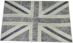 5x8 Ft Gray & Beige British Flag Union Jack Design PATCHWORK Rug, Made from OVERDYED Vintage Handmade Carpets
