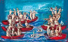 """Dario Fo, Scontro nell'acqua (da """"Storia proibita dell'America""""), 2015 Dario Fo, Playwright, Literature, America, Illustration, Painting, Inspiration, Design, Art"""