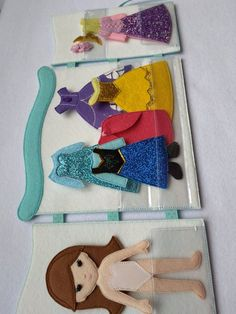 """felt doll and 5 Princess outfit in wardrobe (Anna Sophia Elsa Rapunsel Bell) Dress up doll, Quiet toy, Felt """"paper"""" doll, Gift for girl Satz Filz Puppe und 5 Prinzessin outfit im Schrank Anna Quiet Book Patterns, Felt Doll Patterns, Selling Handmade Items, Felt Quiet Books, Dress Up Dolls, Felt Toys, Diy Toys, Diy Quiet Toys, Gifts For Girls"""