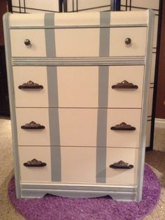 dull no more with white paint. and blue /gray stripes for a finished look. refurbished metal and faux mother of pearl knobs Upcycled Furniture Before And After, Repurposed Furniture, Gray Stripes, White Paints, Blue Grey, Dresser, Pearl, Home Decor, Grey Stripes