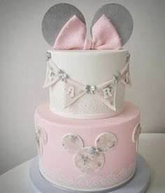 pale pastel link grey white Minnie tier Cake | modern elegance childs birthday party or baby shower
