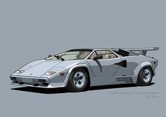 Lamborghini Countach Bianco Polo Park (US spec) Lamborghini Cars, Tatoos, Polo, Digital, Vehicles, Illustration, Polos, Car, Illustrations
