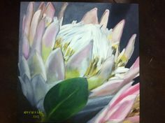 OIL ON CANVAS - KING PROTEAS 2013 MY PAINTING (NATHALIE 2013) OF MY OWN IMAGE TAKEN @ FLOWER MARKET JHB; RSA Protea Art, Protea Flower, South African Artists, Painted Leaves, Flower Paintings, Painting Flowers, Pictures To Paint, Types Of Art, Painting Inspiration