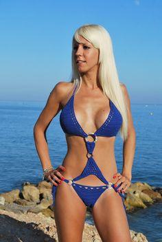 Big breast bikini hot blue swimsuit one piece by SexyCrochetByOlga