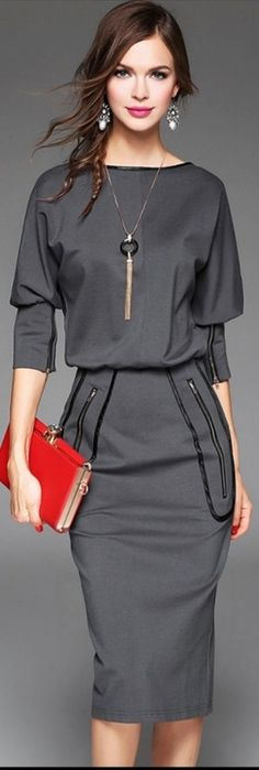 """grey boat neck sheath dress, """"my style"""" except for the earrings Office Fashion, Work Fashion, Street Fashion, Fashion Ideas, Classic Fashion, Curvy Fashion, Fashion Trends, Fall Fashion, Mode Outfits"""