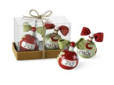 """Mud Pie Holiday Ornament Salt & Pepper Shakers by Mud Pie. $13.99. Topped with linen bows. Arrives in gift box. 2 piece set - price is per set. Size: 2"""" x 3"""". includes 2 ornament shaped ceramic salt & pepper shakers.. Decorate your holiday table with Mud Pie's ornament salt & pepper shakers.  These also make a great hostess gift."""
