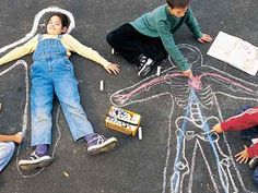 Life-size chalk drawings of body systems decorate playgrounds and sidewalks while demonstrating new learning.