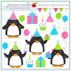 Birthday Girl Penguins - adorable penguin clipart for birthday invitations, scrapbooking, paper crafts and more.