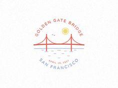 Golden gate bridge by David Hultin Bridge Tattoo, Bridge Logo, Viking Rune Tattoo, Viking Runes, Bridge Drawing, Typo Logo, Typography, Riverside California, Bridge Design