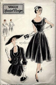 Long skirt dress with vintage neckline neckline 1951 . Vogue Bust 32 1951 dress with Vogue jacket pattern Moda Retro, Moda Vintage, Vintage Mode, Vintage Outfits, Vintage Dresses, Vintage Clothing, 1950s Fashion, Vintage Fashion, Vestidos Pin Up