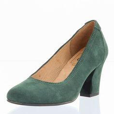 CAPRICE Damen Leder Pumps dunkelgrün Blockabsatz 7 cm Schuhe Damen Pumps