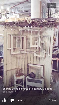I like the ideas of hanging empty frames clustered together.