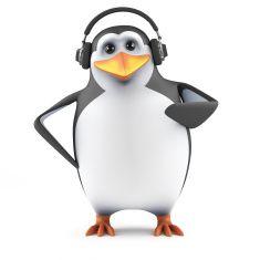3d Penguin headphones stock photo