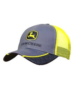 Yellow 'John Deere' Trucker Hat #zulily #zulilyfinds