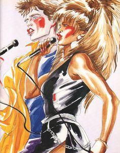 "Antonio Lopez aka ""Antonio"", Mick Jagger and Tina Turner. Image courtesy of the Estate of Antonio Lopez and Juan Ramos. The Rolling Stones, Beatles, Tina Turner, Fashion Sketches, Fashion Illustrations, Illustration Fashion, Illustration Artists, Art Illustrations, Mick Jagger"