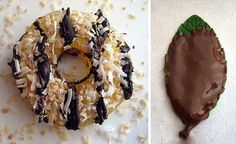 "Healthy Girl Scout cookie makeover - a Samoa is a dried pineapple ring with chocolate and coconut; a ""thin mint"" is a mint leaf dipped in chocolate. 
