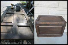 Repurposed door into a trunk. (How-to DIY instructions. http://www.myrepurposedlife.net/2012/04/repurposed-door-into-trunk.html)