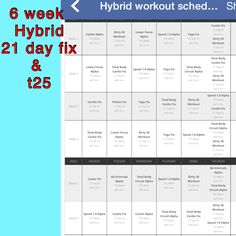 Hybrid for 21 day fix and T25 Workout, Workout Schedule, Workout Challenge, 21 Day Fix Workouts, At Home Workouts, Body Workouts, Workout Calender, 21 Day Fix Extreme, Day Plan