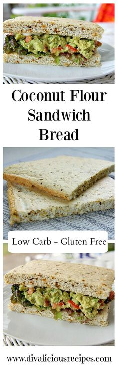This coconut flour sandwich bread that is baked flat rather than a loaf. No slicing, just bake, cut and fill with the filling of your choice. Ketogenic Recipes, Gluten Free Recipes, Low Carb Recipes, Cooking Recipes, Healthy Recipes, Healthy Breakfasts, Weight Watcher Desserts, Coconut Flour Bread, Coconut Flour Recipes