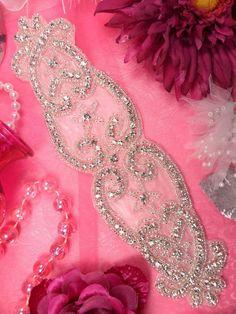 "XR142 Bridal Sash Beaded Crystal Rhinestone Applique 9""  W/ Petite Stars ( XR142-SLCR). $14.99, via Etsy."