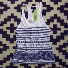 Just Reduced 20%! Embroidered white & blue TankTop Same Edleman knit white tank top in a slub  fabric. Blue embroidered design with racer back detail. Never been worn! Sam Edelman Tops Tank Tops