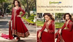 Buy #DiaMirza Red Golden Long #AnarkaliSuit online at best price only on Shoppers99. Click to Shop: - http://www.shoppers99.com/wedding_anarkali_suit/dia_mirza_red_golden_long_anarkali_suit_t-540-1291
