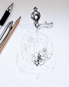 Буду пополнять портфолио эскизов для тату. Хочу целую книгу нарисовать Цветочный Якорь с элементами барокко. Как вам ?⚓️ #tattoo #anchor #flowers #flower #sea #illustration #schedule #handle #Arth #art #baroque  #rococo #wreath #leaves #process #details