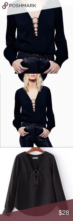 "Sexy Ring Lace Up Top Ring lace up Blouse V neck  Long sleeve Chiffon material  Very chic and sexy Has 3 buttons on sleeves Rings are metal. New in package.  ✨Bust:38"" ✨Length:27"" Bewitched Boutique Tops Tees - Long Sleeve"