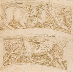 Attributed to Giulio Romano | Two Designs for an Ornamental Border, one with a bull and bear; the other with a unicorn | The Morgan Library & Museum