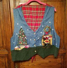 Reversible Denim Christmas Vest Plus Sz 22W Red Plaid Lorree G Star VTG Teacher #LorreeGStar #Reversible