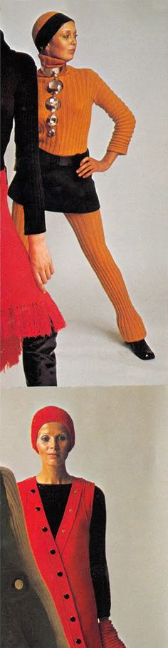 Cardin, Ungaro and Courreges Vogue 1969 designer vintage fashion late 60s orange knit wool sweater black mini skirt unique necklace jewelry collar silver space age color photo print ad models magazine