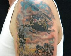 """Dustoff"" medevac in action. #InkedMagazine #tattoo #tattoos #war #military"