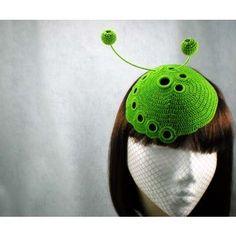 """Green Organic Spiral Hat"" - crochet hat headpieces - MaynardMillinery"