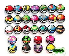 Sprites de Pokemon Perler choisir 1 Pokeball par ShowMeYourBits