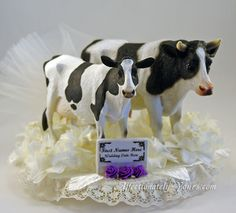 Personzlied Sweet And Gentle Holstein or Guernsey Cow Bride and Bull Groom Couple Wedding Cake Topper Featuring Bride in Pearls and Veil, Groom In Bowtie. Available In White Or Ivory. 6 in x appx 5 in h. Couple Can Be Bride and Groom, Two Brides (cows) or Two Grooms (bulls). http://www.affectionately-yours.com/cow-couple-personalized-cake-wedding-topper/  Shown Ivory, Purple Accents and Standard Holstein (veil, pearls, bowtie not shown)