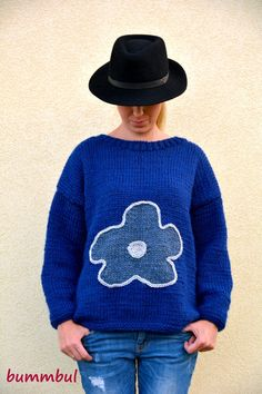 Knit sweater for women, Blue knit sweater, hand knitted sweater with flower, M size , womens clothing - pinned by pin4etsy.com