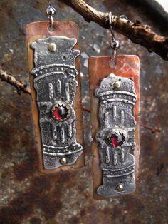 earrings-w-garnet - crafthaus  Richard smalley's stamped solder technique??