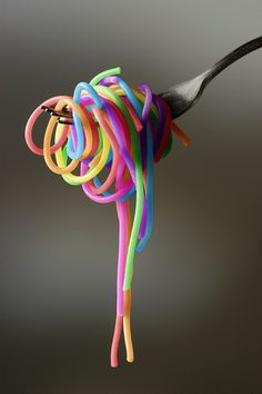 Rainbow noodles.  Food color in the water. This is wonderful!
