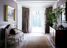 """""""Portieres""""  - covering the side windows at the front door - rod & curtains go across front door"""