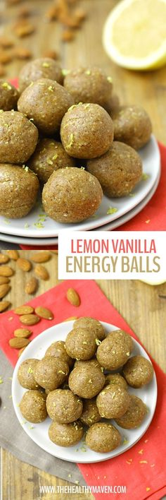 Made from nuts, dates and protein powder these Lemon Vanilla Energy Balls will give you the boost you need to make it through the day.