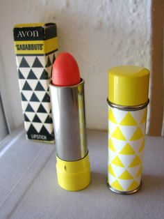 Vintage 1970's Avon Gadabouts lipstick with yellow by fayebella