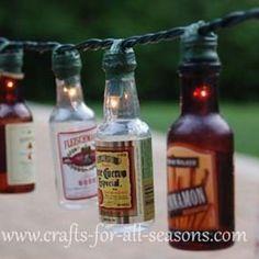 Easy DIY Patio Party Lights_ Okay peeps start saving your mini bottles for us! Empty Liquor Bottles, Mini Bottles, Beer Bottles, Liquor Bottle Lights, Mini Alcohol Bottles, Bottle Candles, Glass Bottles, Miniature Alcohol Bottles, Alcohol Bottle Crafts