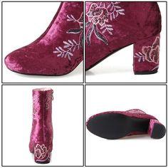 Phoentin výšivka kotníkové boty pro ženy šedé sametové květiny dámské boty  zipper squre heel dvě boty 67213a5cee