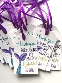 Mermaid Favor Tag, Mermaid Favor Tags, Mermaid Birthday Tags, Mermaid Birthday, Mermaid Favor Tags, Under The Sea Mermaid Party - #mermaid - Mermaid Favor Tags! The Tags come already cut, punch and have ribbon attached. Tags are 2.5x2in with ribbon and printed on high quality card stock • Sold in sets of 12. These already have ribbon strung through and ready to go. Thank you, splash & Name are printed glitter, not actual glitter. ****Include in the notes section at checkout: 1. Party Date… Mermaid Theme Birthday, Little Mermaid Birthday, Little Mermaid Parties, Mermaid Themed Party, Birthday Tags, 6th Birthday Parties, Birthday Ideas, Parties Kids, Third Birthday